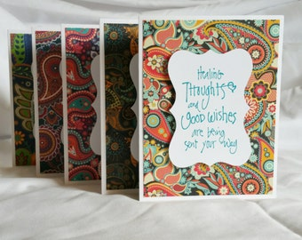 Paisley Get Well Soon Card (Blank Inside), Set of 5