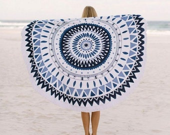 Round Ocean blue Towel