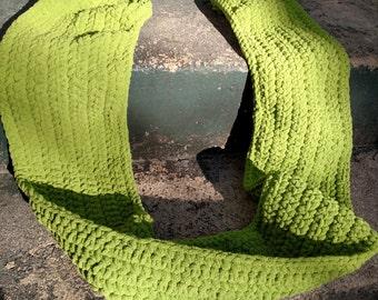 Hand Crocheted Wild Green Scarf