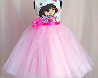 Dora Birthday Dress, Tutu Dora outfit, Disney Dora Party Dress, Handmade Tutu Birthday Dora Dress, Dora Dress