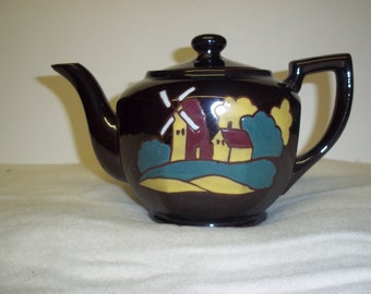 Vintage Brown Teapot with Windmill from Occupied Japan