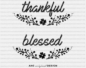 Sale! Thankful and Blessed SVG Fall Wreath SVG cut file. Cricut Explore. Cut or Printable. Thanksgiving, Fall and Autumn Wreath Quote Vector