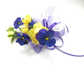 Wedding Corsage, Purple & Yellow Floral, Rose and Pansy Corsage, Silk Bridal Corsage,Yellow and Violet Prom Corsage, Pin On Shoulder Corsage