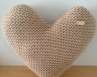 Handmade Hand Knitted Natural Heart-Shaped Decorative Cushion