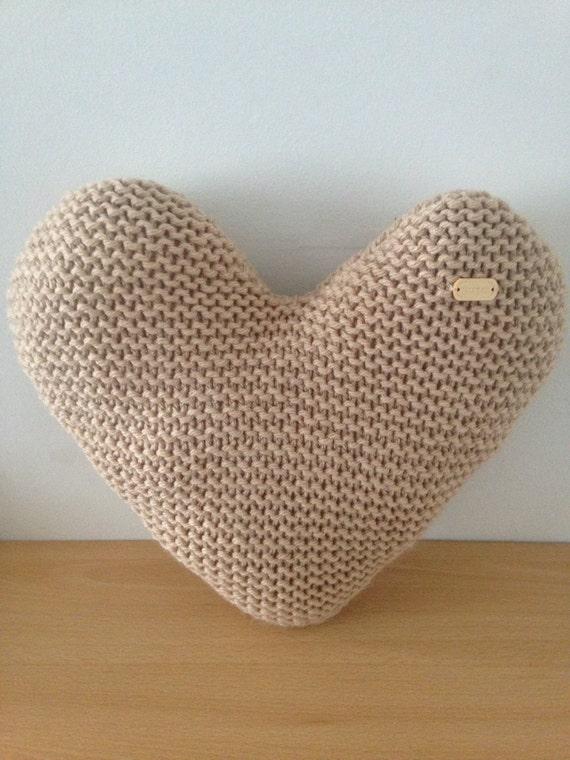Handmade Hand Knitted Natural Heart-Shaped Decorative Cushion