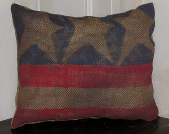 8.00 Americana Burlap Flag, Pillow, Primitive Decor, Country Decor, Country Primitive Decor, Rustic, Primitive, Farm House Decor