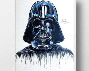 Darth Vader Illustrated Drawing Print