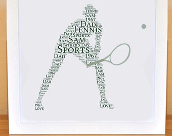 Printable Personalised Tennis Print | Personalized Word Art for Birthday, Dad |  Digital File | Print Yourself | Father's Day Gift