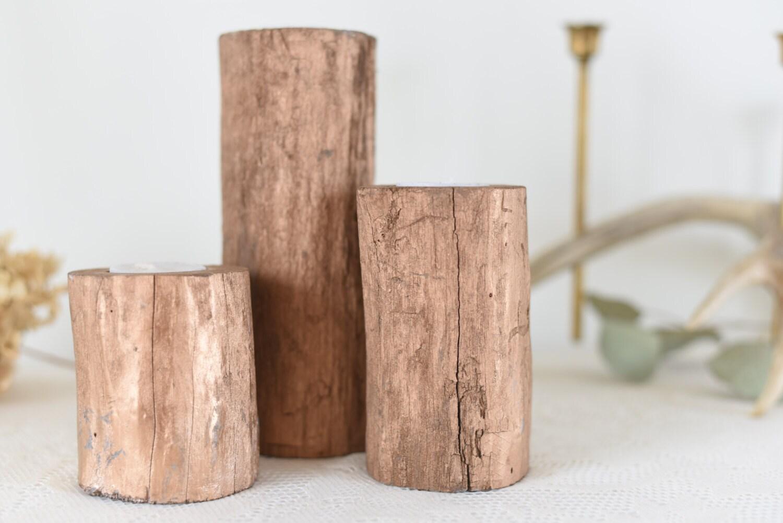 rose gold painted driftwood candle holders set of 3 gold. Black Bedroom Furniture Sets. Home Design Ideas