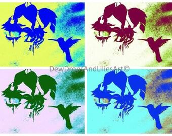 Hummingbird and flowers -  pop art print of original oil colour painting