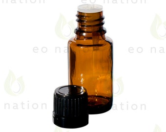 15 ml. Amber Euro Style Dropper Bottle - Tamper Evident Seal