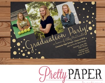Graduation Party Photo Invitation - Digital or Printed