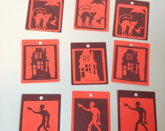 36 Halloween tags - Haunted House, Zombie, black cat