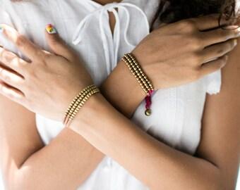 Beaded Bracelet-Taupe Gold 3 strings Bracelet Woven Bracelet- B75