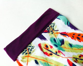 Vintage Multicolor Bold Feathers Floral Leggings// Newborn-7T//Knit Leggings//With cuffs