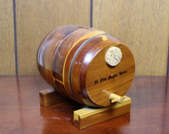 Vintage Wooden Bank Ye Olde Money Barrel