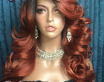 Copper Ombre Human Hair Blend Layered Realistic Lace Front Wig