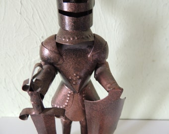 Vintage  Handmade metal Medieval Knight Statue, Candle holder/ashtray