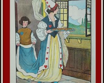 Real Mother Goose Print - Vintage Book Print - The Tarts - Vintage Kitchen Print - Vintage Nursery Art