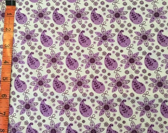Fabric by the yard Purple Paisley Cotton Fabric