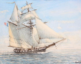 Schooner (watercolor)