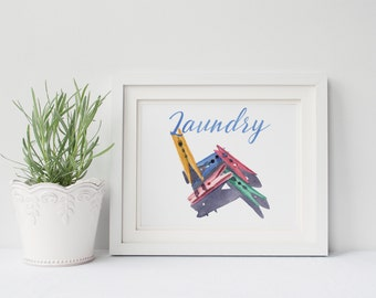 Laundry sign print of watercolour painting LP070DL, downloadable wall art, printable art, laundry pegs watercolor painting,