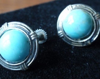Light Blue Tourquoise or Glass Sterling earrings