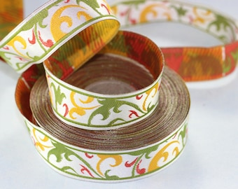 22 mm mix color Jacquard Trims 0.86 inches - Spring Style Jacquard trim - Jacquard ribbons - Spring Embroidered ribbons - Home Decor supply