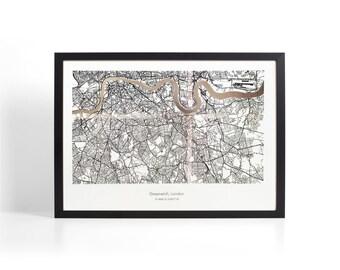 Custom London Coordinates Map - Silver Foil