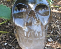 Large Hand Carved Smoky Quartz Skull from Brazil | Collectible Crystal Skull Display Piece | Healing Crystal Skull #23