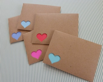 FREE SHIPPING in US!  5 Bright Colored Note Cards with Kraft Paper Heart Cut-Out Envelopes and Envelope Seals, Gift Enclosures, Gift Cards