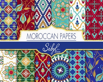 60% OFF SALE, Geometric Moroccan paper, Digital Ethnic Moroccan Patterns, Moroccan Mosaic Colorful Stencils, Scrapbooking Paper, Tribal