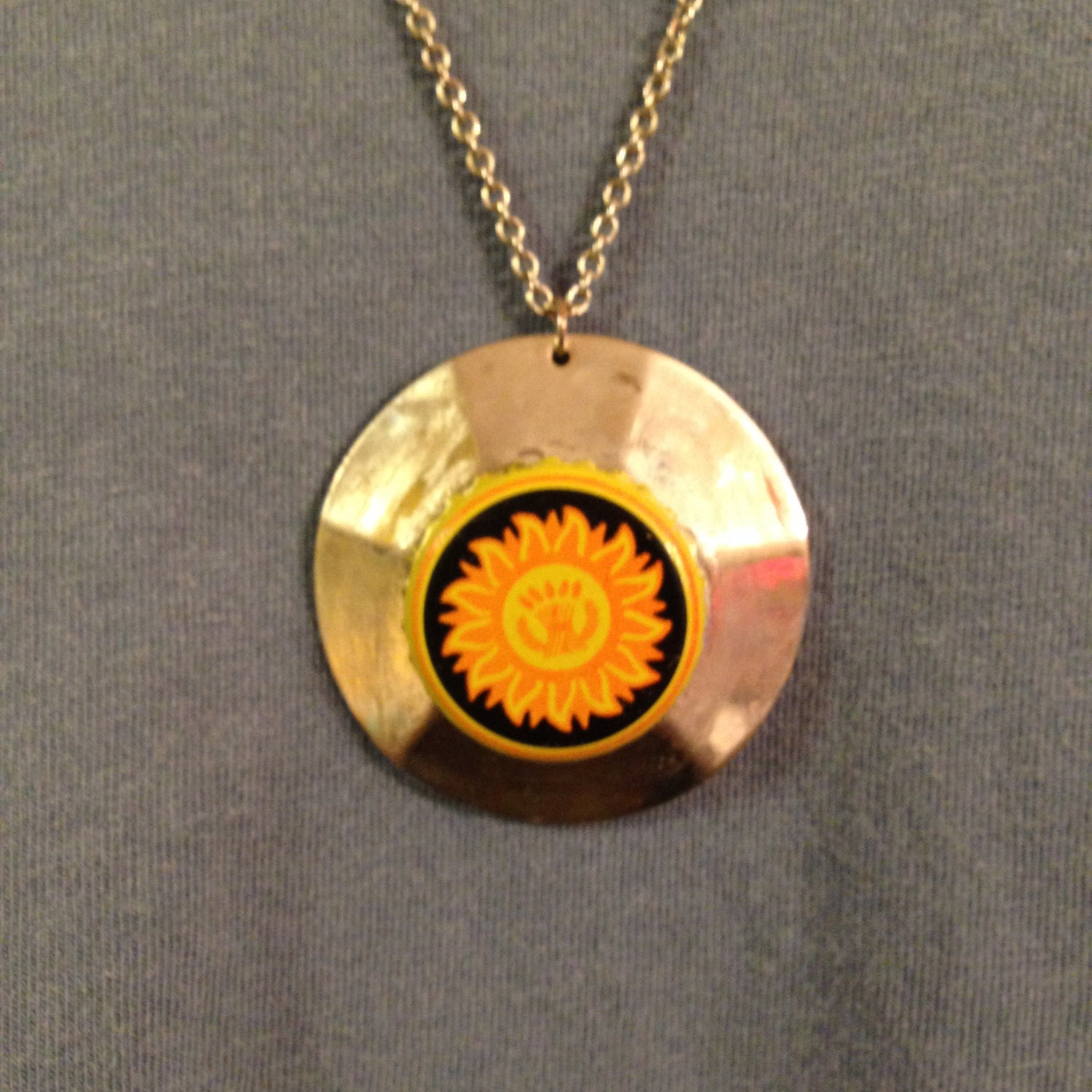 sun and sand dollar bottle cap necklace by southerngirlbeads