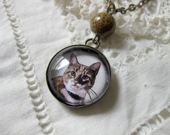 Orange Tabby cat pendant necklace
