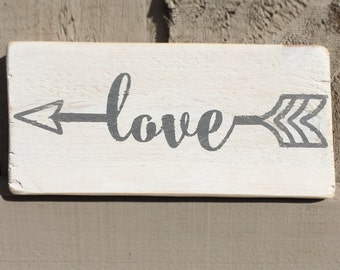Arrow love shabby chic reclaimed wooden sign art