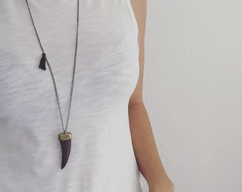 Inidaner boho look link chain and necklace Quastel blue tooth wood