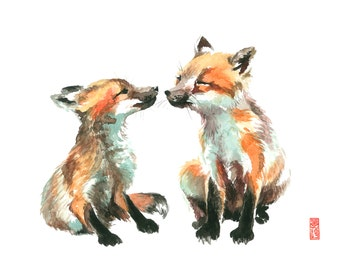 Kissing Foxes Watercolor Painting Fine Art Giclee Print / Bird Painting / Animal Art / Wildlife Paintings