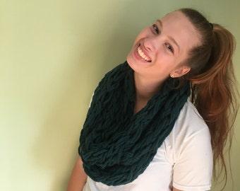 Dark Teal Hand-knit Chunky Scarf