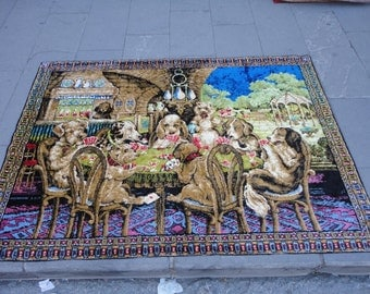 Syrian velvet wall hanging rug,illustrated gambling dogs,decorative rug,rustic decor,cottage decor,67'' x 48'' inches