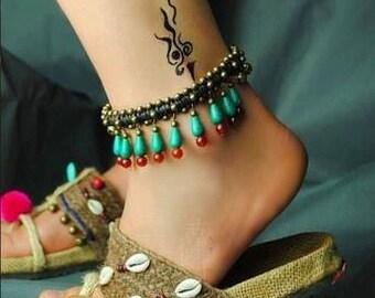 Gave traditionele Turkoois en Carneool enkelband.