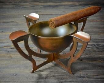 "Custom ""Truss"" Cigar Ashtray - Steel Rust Ashtray"