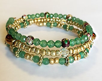 Genuine Emerald Beaded Memory Wire Bracelet