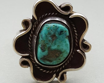 Vintage Turquoise Silver Finger Ring - Size 8-3/4