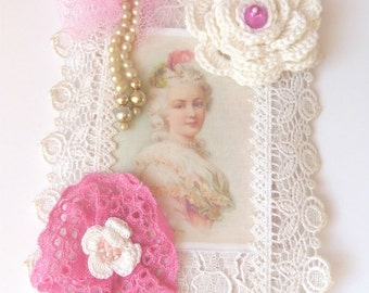 Shabby chic Fabric and lace collage, Marie Antoinette Mixed Media tags, Franch Collage Art Marie Antoinette, Marie Antoinette Wall Hanging