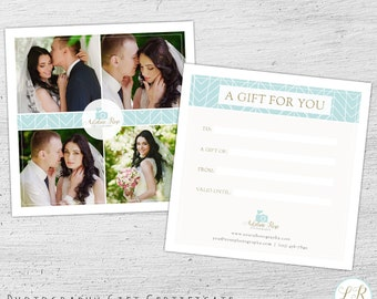 Wedding Photography Gift Certificate Template,  Photography Gift Card Template, Photoshop Template, Wedding Photography Marketing - 01-009
