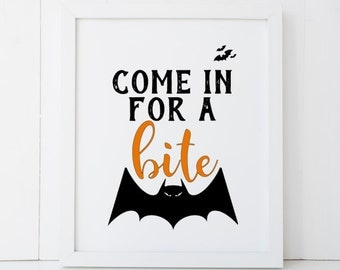 Come In For A Bite Kitchen Sign Haunted House Happy Halloween Printable Wall Art INSTANT DOWNLOAD DIY - Great Gift