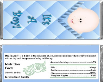 Baby Shower Boy Theme Custom 1.55 oz Standard Size Candy Bar Wrapper Instant Download