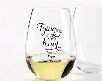 24pcs Tying the Knot - Stemless Wine Glasses 9oz Personalized - DGI22-A35