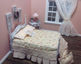 Furniture ,Miniature 1:12 scale Shabby Chic or country style Bed and Nightstand,peach floral comforter,accents of green,whites &cream colors