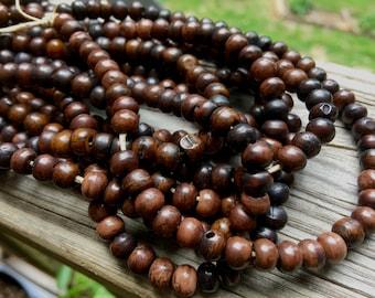 6mm Bone Beads, Light & Dark Espresso Brown Colors